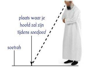 Kijk naar de plek waar je hoofd zal zijn tijdens de soedjoed.